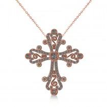 Diamond Byzantine Cross Pendant Necklace in 14k Rose Gold (0.50ct)