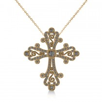Diamond Byzantine Cross Pendant Necklace in 14k Yellow Gold (0.50ct)