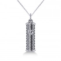 Floral Design Mezuzah Pendant Necklace in 14k White Gold