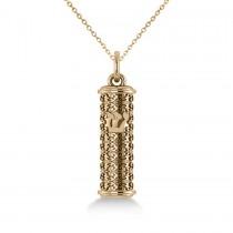 Floral Design Mezuzah Pendant Necklace in 14k Yellow Gold