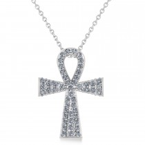 Diamond Ankh Egyptian Cross Pendant Necklace 14k White Gold (1.00ct)
