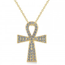 Diamond Ankh Egyptian Cross Pendant Necklace 14k Yellow Gold (1.00ct)