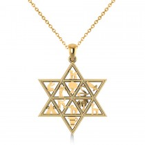 Star of David & 12 Tribes Religious Pendant Necklace 14k Yellow Gold