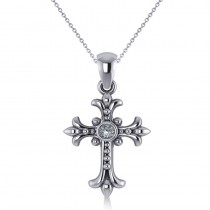 Diamond Gothic Cross Pendant Necklace 14k White Gold (0.03ct)