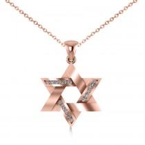 Diamond Star of David Pendant Necklace 14k Rose Gold (0.23ct)