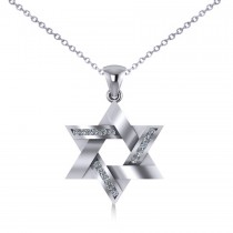 Diamond Star of David Pendant Necklace 14k White Gold (0.23ct)