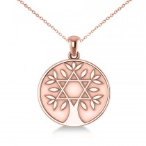 Jewish Family Tree Star of David Pendant Necklace 14k Rose Gold