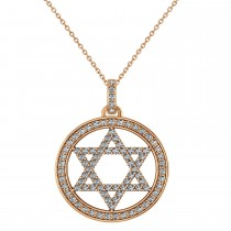 Diamond Jewish Star of David Pendant Necklace 14K Rose Gold (0.92ct)