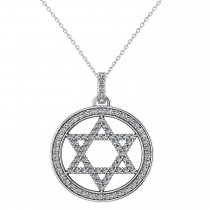 Diamond Jewish Star of David Pendant Necklace 14K White Gold (0.92ct)