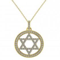 Diamond Jewish Star of David Pendant Necklace 14K Yellow Gold (0.92ct)