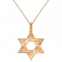 Jewish Star of David Pendant Necklace 14K Rose Gold