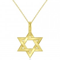 Jewish Star of David Pendant Necklace 14K Yellow Gold