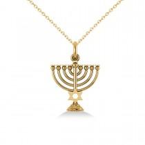 Star of David Menorah Pendant Necklace 14k Yellow Gold