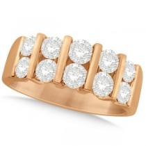 Two Row Bar-Set Men's Diamond Wedding Ring 14K Rose Gold (2.00ct)