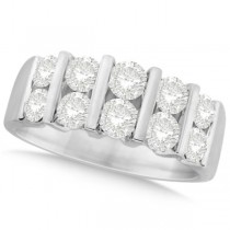 Two Row Bar Set Men's Diamond Wedding Band 14K White Gold (2.00ct)