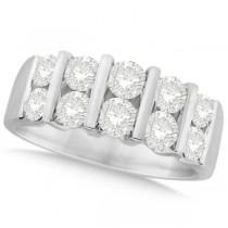 Two Row Bar Set Men's Diamond Wedding Band 14K White Gold (2.00ct)