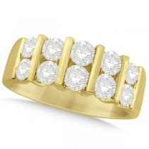 Two Row Bar Set Men's Diamond Wedding Ring 14K Yellow Gold (2.00ct)