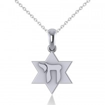Jewish Star of David & Chai Pendant Necklace 14k White Gold