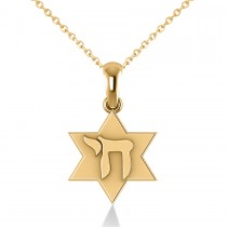 Jewish Star of David & Chai Pendant Necklace 14k Yellow Gold