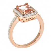 Halo Morganite & Diamond Ring 14k Rose over Sterling Silver (2.34ct)