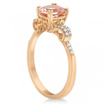 Cushion Cut Morganite Ring with Diamonds Rose Gold Vermeil 1.37ctw|escape