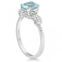 Cushion Cut Aquamarine Ring w/ Diamond Accents Sterling Silver 1.37ctw|escape
