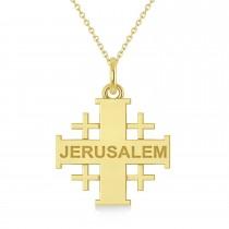 Jerusalem Engraved Cross Necklace Pendant 14k Yellow Gold