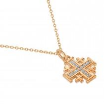 Jerusalem Cross Diamond Accented Ladies Necklace Pendant 14k Rose Gold (0.20ct)