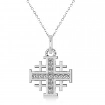 Jerusalem Cross Diamond Accented Ladies Necklace Pendant 14k White Gold (0.20ct)