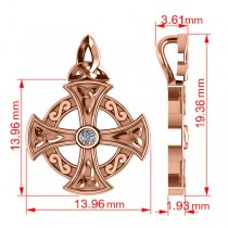Diamond Celtic Cross Pendant Necklace 14K Rose Gold (0.02ct)