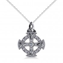 Diamond Celtic Cross Pendant Necklace 14K White Gold (0.02ct)