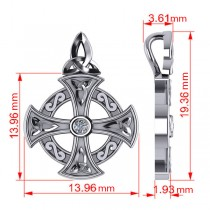 Diamond Celtic Cross Pendant Necklace 14K White Gold (0.02ct)