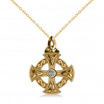 Diamond Celtic Cross Pendant Necklace 14K Yellow Gold (0.02ct)