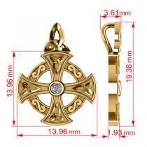 Diamond Celtic Cross Pendant Necklace 14K Yellow Gold (0.02ct)