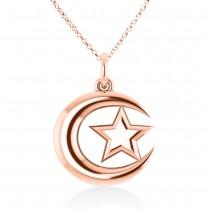 Crescent Moon & Star Pendant 14k Rose Gold