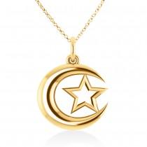 Crescent Moon & Star Pendant 14k Yellow Gold