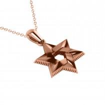 Star of David Pendant Necklace 14k Rose Gold