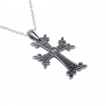 Diamond Accented Armenian Cross Pendant Necklace 14k White Gold (0.01ctw)