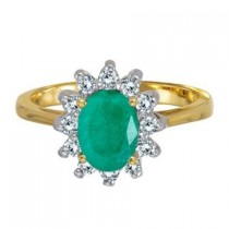 Lady Diana Oval Emerald & Diamond Ring 14k Yellow Gold (1.50 ctw)