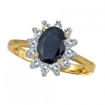 Lady Diana Blue Sapphire & Diamond Ring 14k Yellow Gold (2.10 ctw)