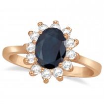 Lady Diana Blue Sapphire & Diamond Ring 14k Rose Gold (2.10 ctw)