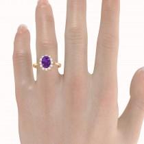 Lady Diana Oval Amethyst & Diamond Ring 14k Rose Gold (1.50 ctw)