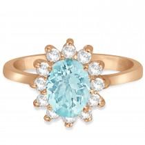 Lady Diana Oval Aquamarine & Diamond Ring 14k Rose Gold (1.50 ctw)