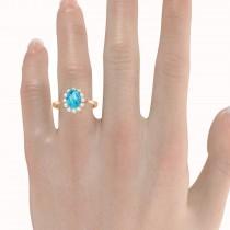 Lady Diana Oval Blue Topaz & Diamond Ring 14k Rose Gold (1.50 ctw)