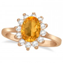 Lady Diana Oval Citrine & Diamond Ring 14k Rose Gold (1.50 ctw)