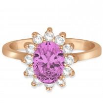 Lady Diana Oval Pink Sapphire & Diamond Ring 14k Rose Gold (1.50 ctw)