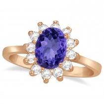 Lady Diana Oval Tanzanite & Diamond Ring 14k Rose Gold (1.50 ctw)