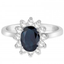 Lady Diana Blue Sapphire & Diamond Ring 14k White Gold (2.10 ctw)