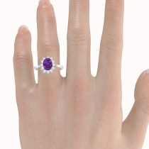 Lady Diana Oval Amethyst & Diamond Ring 14k White Gold (1.50 ctw)