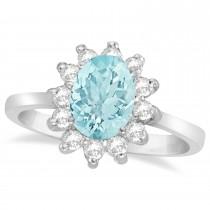 Lady Diana Oval Aquamarine & Diamond Ring 14k White Gold (1.50 ctw)